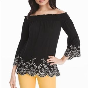 White House Black Market Embroidered Top | small